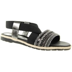 Black flat sandal with elasticated cross over strap