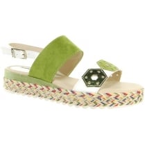 Green/white flat sandal with sling back