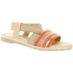 Orange flat sandal with elasticated cross over strap