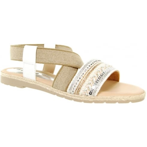 Adesso White/beige flat sandal with elasticated cross over strap