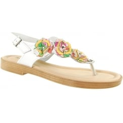 White floral leather flat toe post sandal