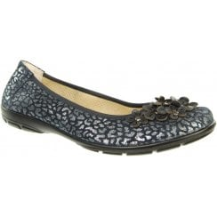 Navy blue leather flat ballet pump style shoe