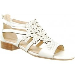 White leather flat roman style sandal