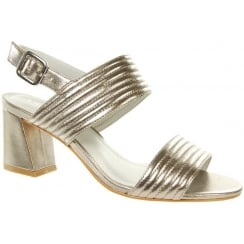 Silver/gold leather heeled sling back sandal