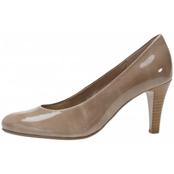 Gabor Beige patent style heeled court shoe