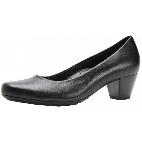 Gabor Black leather heeled court shoe