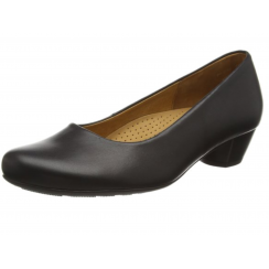 Black leather heeled court shoe