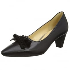 Black leather heeled court shoe with bow trim