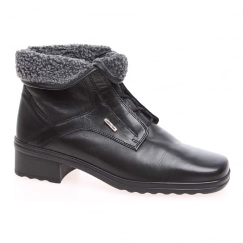 Gabor Black leather low heeled gortex lace up boot