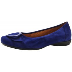 Blue suede/leather flat ballet pump with buckle detail