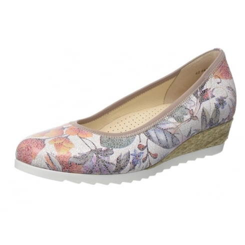 Gabor Floral Leather Wedge Slip On Shoe