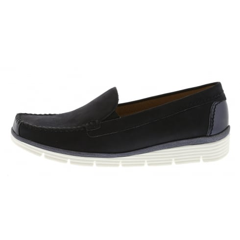 Gabor Navy leather suede flat moccasin style shoe