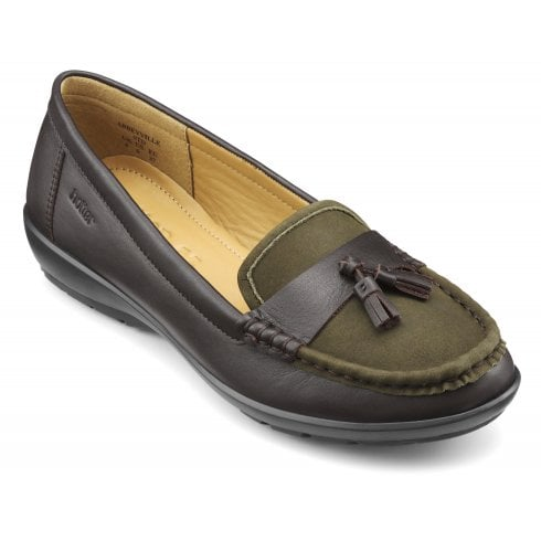Hotter Abbeyville Chocolate/Loden Green Leather Std Fit Moccasin Loafer