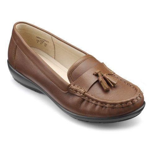 Hotter Abbeyville Dark Tan Std Fit Leather Moccasin Loafer Shoe