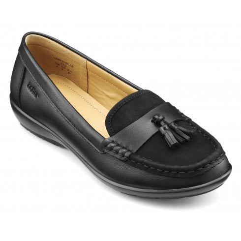 Hotter Abbeyville Jet Black Leather Wide Fit Moccasin Loafer