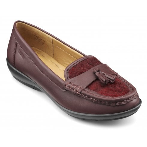 Hotter Abbeyville Maroon Leather Wide Fit Moccasin Loafer