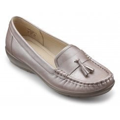 Abbeyville Mauve Metallic Wide Fit Leather Moccasin Loafer Shoe