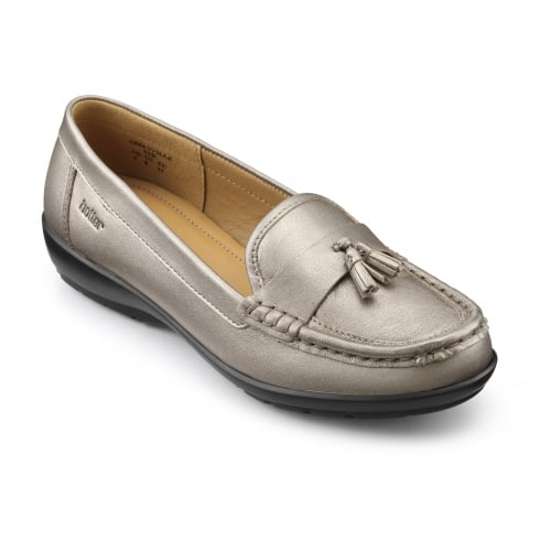 Hotter Abbeyville Nickel Metallic Leather Moccasin Loafer Shoe
