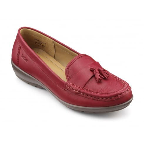 Hotter Abbeyville Tango Red Leather Moccasin Loafer Shoe