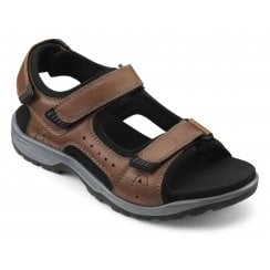 Action Dark Tan Std Fit Leather Twin Velcro Strap Sandal