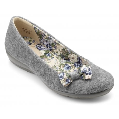 Hotter Adore Std Fit Grey Quilted Slipper
