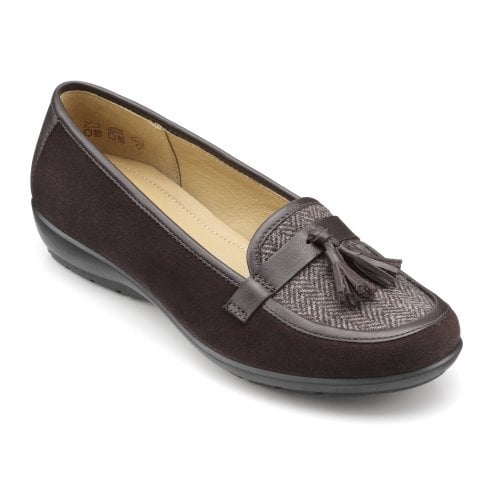 Hotter Alice Std Fit Chocolate Herringbone Suede Leather Flat Slip On Shoe