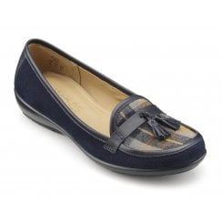 Alice Std Fit Navy Check Suede Leather Flat Slip On Shoe