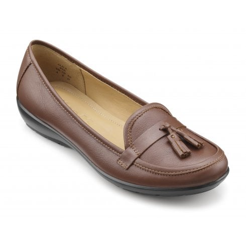 Hotter Alice Wide Fit Dark Tan Leather Flat Slip On Shoe