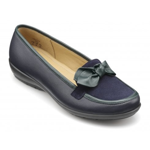 Hotter Amalie Std Fit Navy/Green Leather Flat Loafer Style Shoe