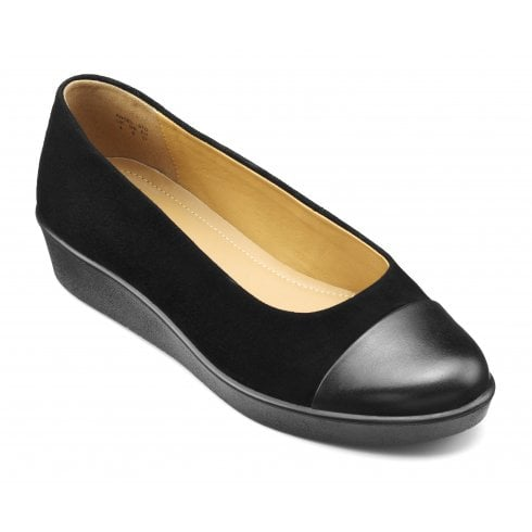 Hotter Angel Black Suede Std Fit Wedge Style Shoe