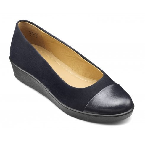 Hotter Angel Navy Suede Std Fit Wedge Style Shoe