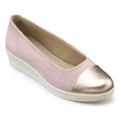 Angel Pink and Rose Gold Suede Std Fit Wedge Style Shoe