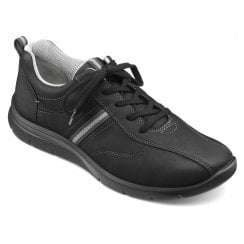 Apollo Std Fit Black Waxed Nubuck Trainer Style Shoe