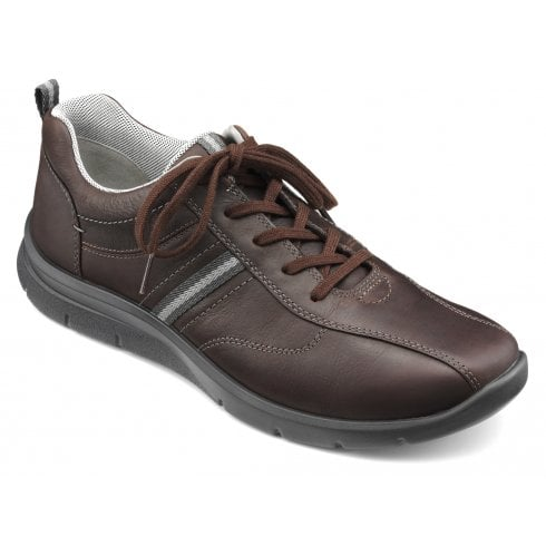 Hotter Apollo Std Fit Dark Brown Waxed Nubuck Trainer Style Shoe