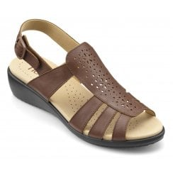 Athens Dark Tan Std Fit Wedge Slip on Sandal