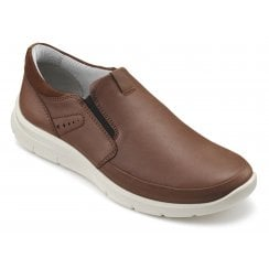 Atom Dark Tan Std Fit Leather Flat Lace Up Shoe