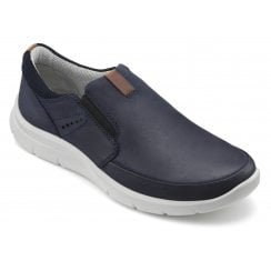 Atom Navy Std Fit Leather Flat Lace Up Shoe