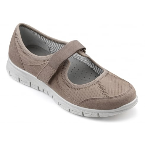 Hotter Aura Truffle Suede/Leather Trainer Style Shoe