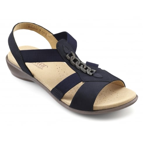 Hotter Beam Navy Nubuck Flat Slip On Sandal