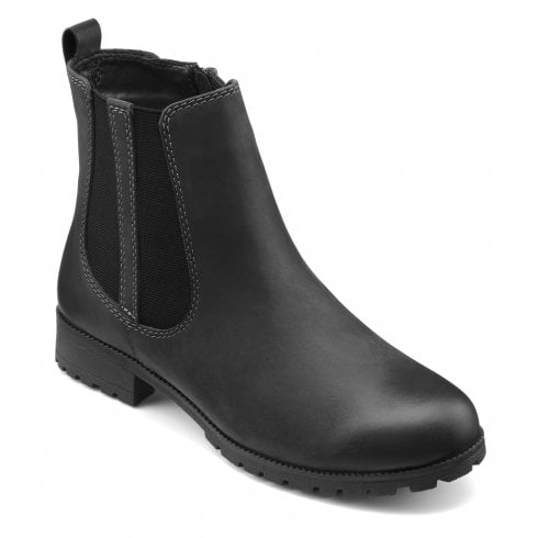 Hotter Beau Black Std Fit Waxed Nubuck Flat Ankle Boot