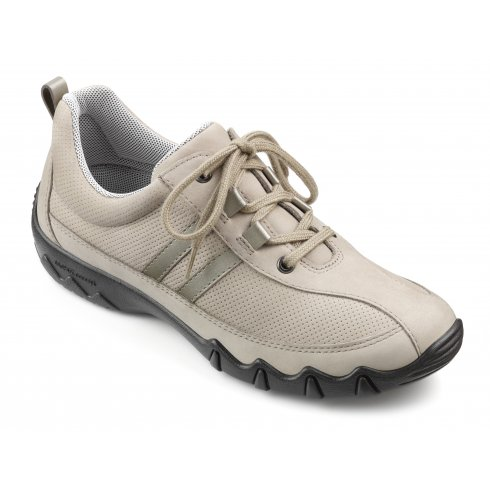 Hotter Beige/flint leather nubuck flat lace up trainer style shoe