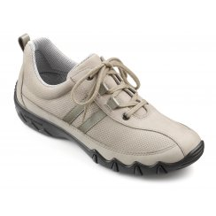 Beige/flint leather nubuck flat lace up trainer style shoe