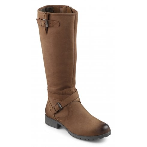 Hotter Belle Dark Tan Std Fit Waxed Nubuck Flat Knee-High Boot