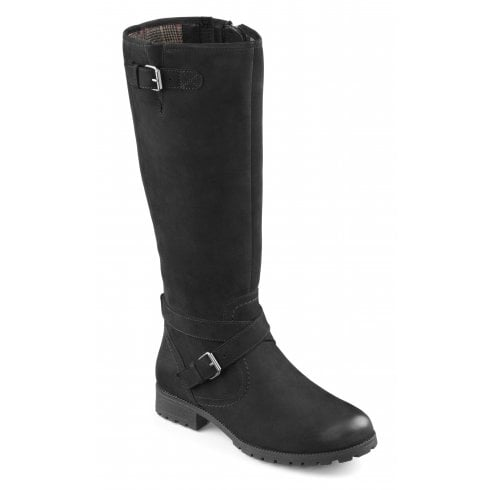 Hotter Belle Jet Black Wide Fit Waxed Nubuck Flat Knee-High Boot