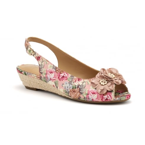 Hotter Betsy Rose Floral Peep Toe Wedge Sandal