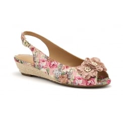 Betsy Rose Floral Peep Toe Wedge Sandal