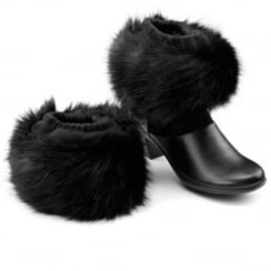 Black faux fur boot toppers