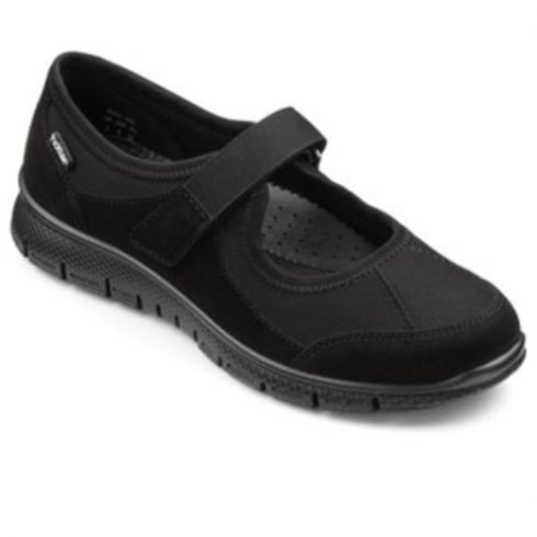 Hotter Black Suede Leather/Nubuck Mary Jane Style Trainer Shoe