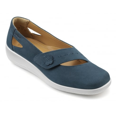 Hotter Bliss Blue River Nubuck Flat Velcro Shoe