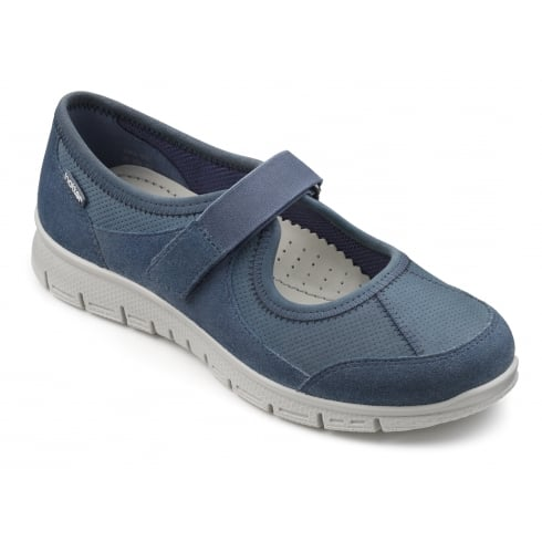 Hotter Blue River Suede/Nubuck Leather Mary Jane Style Trainer Shoe